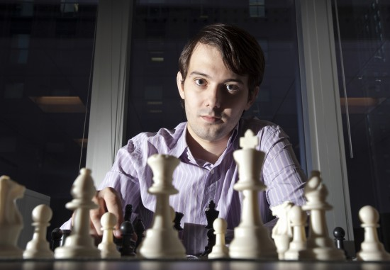 Martin Shkreli, chief investment officer of MSMB Capital Management, sits for a photograph behind a chess board in New York, U.S., on Wednesday, Aug. 10, 2011. MSMB made an unsolicited $378 million takeover bid for Amag Pharmaceuticals Inc. and said it will fire the drugmaker's top management if successful. Photographer: Paul Taggart/Bloomberg via Getty Images ***Local Caption ** Martin Shkreli